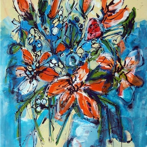 (CreativeWork) Summer Blooms by Wendy Eriksson. mixed-media. Shop online at Bluethumb.