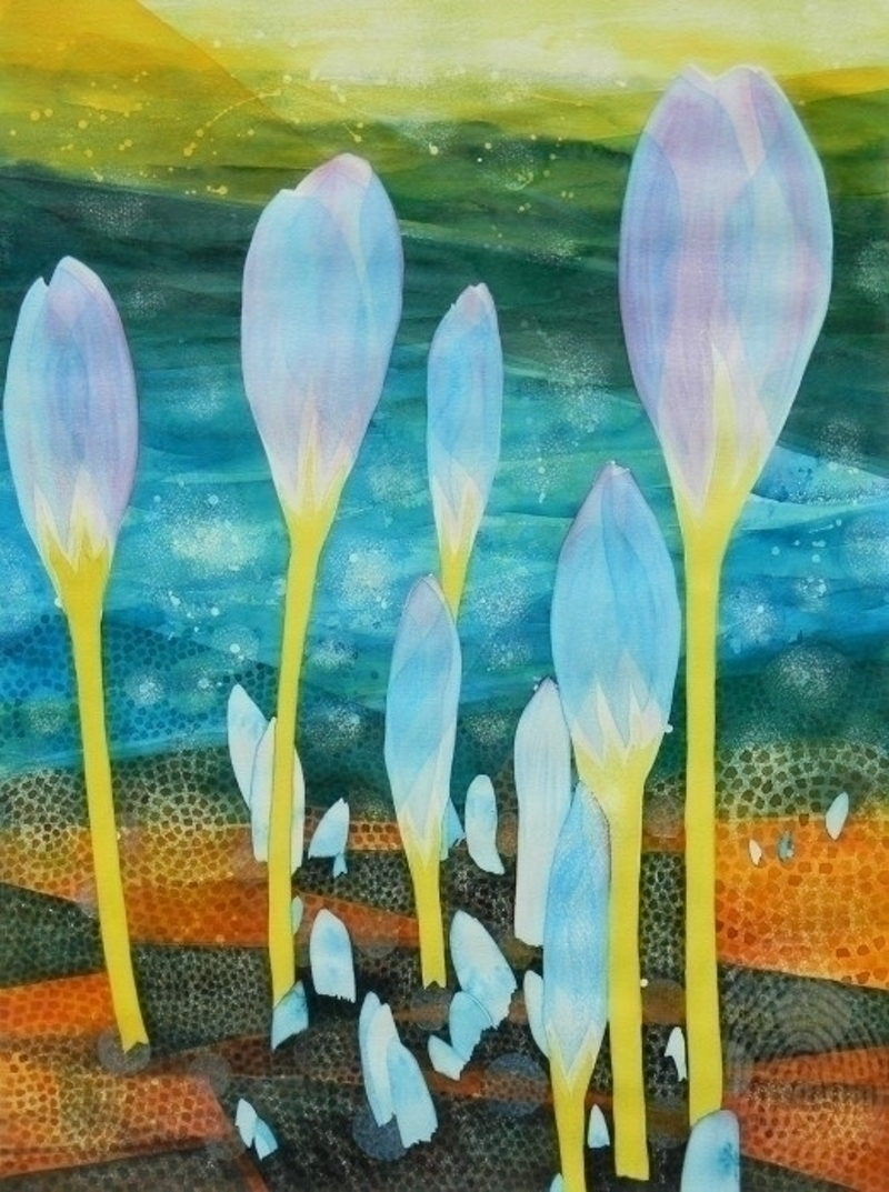 (CreativeWork) Ice Tulips by Adel Nemeth. watercolour. Shop online at Bluethumb.
