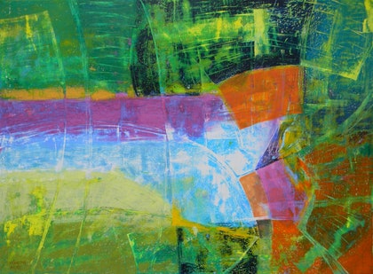 (CreativeWork) Abstract Green Landscape by Adel Nemeth. mixed-media. Shop online at Bluethumb.