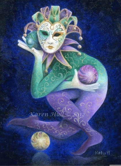(CreativeWork) Carnivale Juggler by Karen Hull. oil-painting. Shop online at Bluethumb.