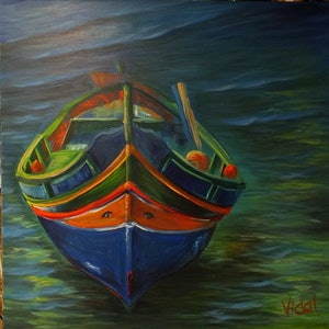 (CreativeWork) Traditional Maltese Boat by Christopher Vidal. arcylic-painting. Shop online at Bluethumb.