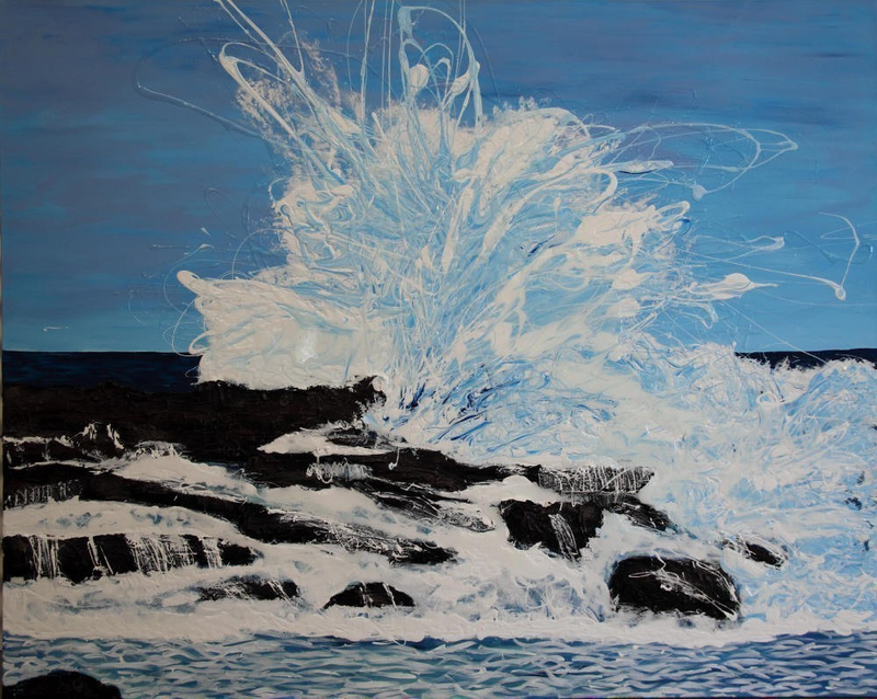 (CreativeWork) 'Smashing' Undertow Bay - Cape Patterson by Annette Spinks. mixed-media. Shop online at Bluethumb.