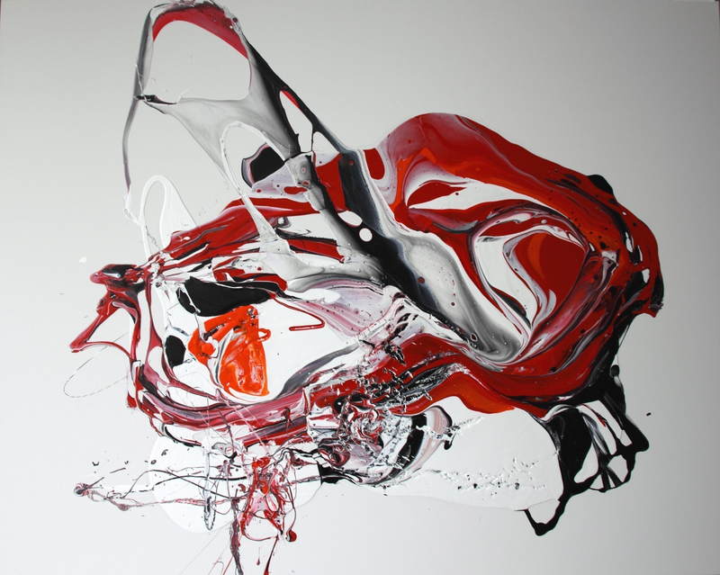 (CreativeWork) Red Abstract 2015 by Annette Spinks. mixed-media. Shop online at Bluethumb.