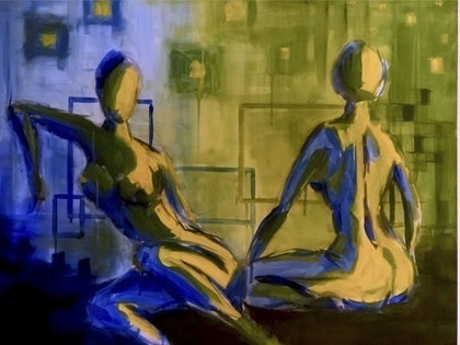 (CreativeWork) Ladies in Light & Dark by Chris Wilkens-Smith. arcylic-painting. Shop online at Bluethumb.