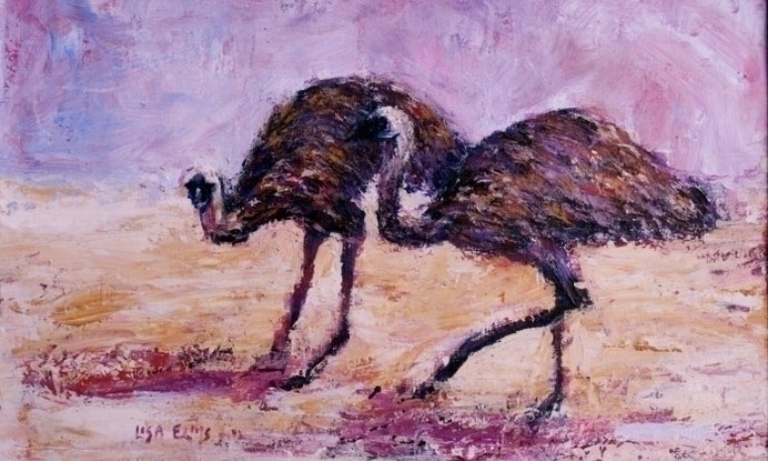 (CreativeWork) Two Emu's by Lisa Elms. Acrylic Paint. Shop online at Bluethumb.