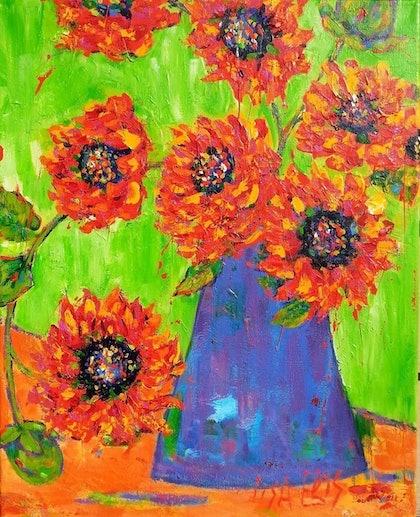 (CreativeWork) wild dahlia's by Lisa Elms. arcylic-painting. Shop online at Bluethumb.