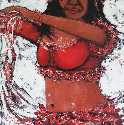 (CreativeWork) red bellie dancer #8 by Lisa Elms. arcylic-painting. Shop online at Bluethumb.