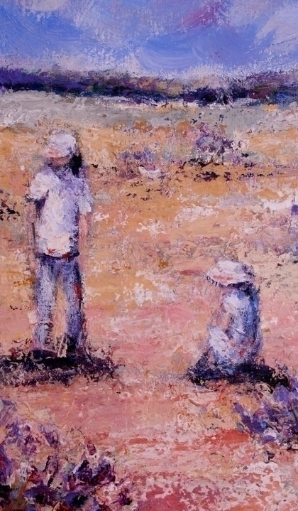 (CreativeWork) desert explorers by Lisa Elms. arcylic-painting. Shop online at Bluethumb.