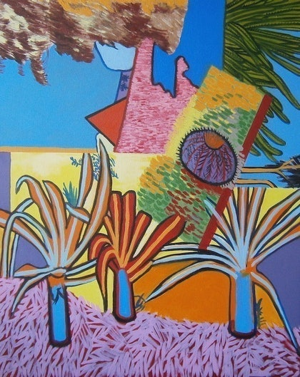 (CreativeWork) Botanic Gardens #21 - 3 Young Palms by Sally Hollis. arcylic-painting. Shop online at Bluethumb.