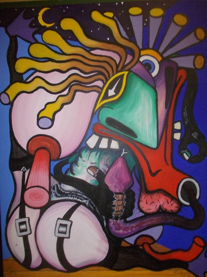 (CreativeWork) knock knock whos there? by stephen preston. arcylic-painting. Shop online at Bluethumb.
