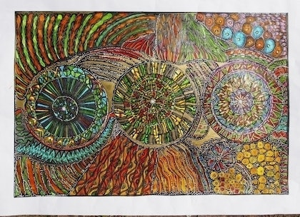 (CreativeWork) There are many spokes on the wheel by Merle Wiitpom. mixed-media. Shop online at Bluethumb.