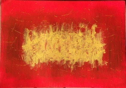 (CreativeWork) Red and Gold by Joel Davies. arcylic-painting. Shop online at Bluethumb.
