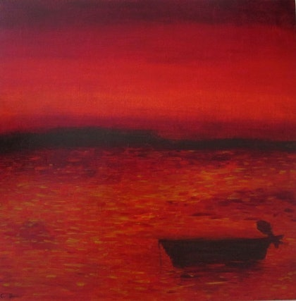 (CreativeWork) Scarlet Sunset by Claudio Fenici. oil-painting. Shop online at Bluethumb.