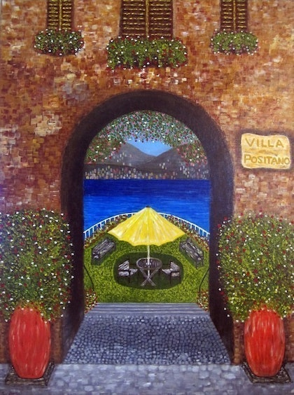(CreativeWork) Villa Positano by Claudio Fenici. arcylic-painting. Shop online at Bluethumb.