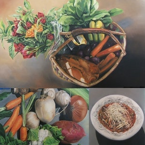(CreativeWork) How to make a sustainable soup by Karena Wynn-Moylan. oil-painting. Shop online at Bluethumb.