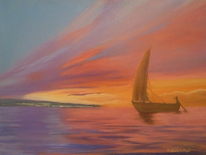 (CreativeWork) sunset sail by Mark Basford. oil-painting. Shop online at Bluethumb.