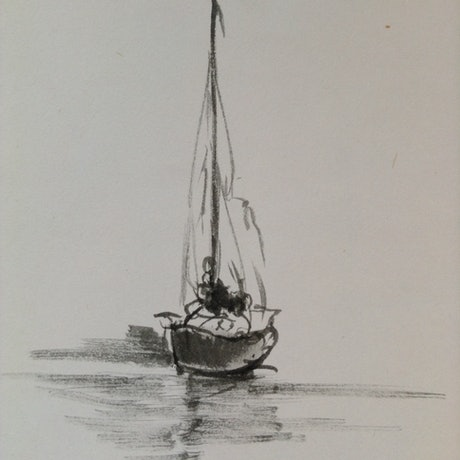 (CreativeWork) Small yacht by Tom Ansell. Drawings. Shop online at Bluethumb.