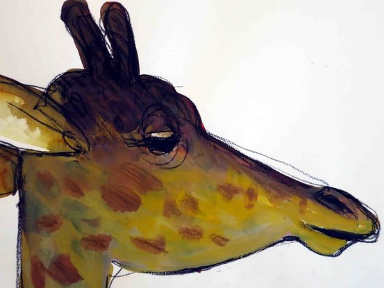 (CreativeWork) Giraffe number 1 by John Graham. Watercolour Paint. Shop online at Bluethumb.