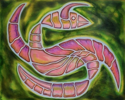 (CreativeWork) Neo Fossil by Michael Stewart. arcylic-painting. Shop online at Bluethumb.