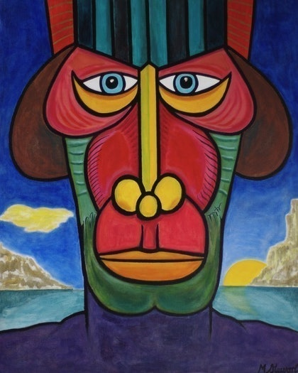 (CreativeWork) Tribal Mask by Michael Stewart. arcylic-painting. Shop online at Bluethumb.