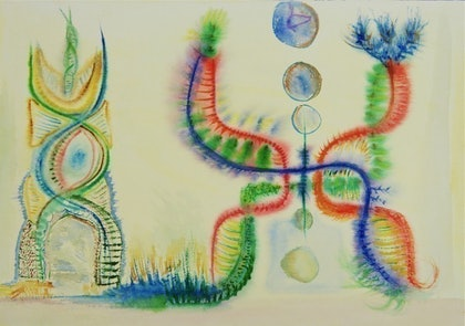 (CreativeWork) Electric Strands by Michael Stewart. watercolour. Shop online at Bluethumb.