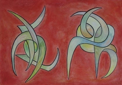 (CreativeWork) Sealed on Red by Michael Stewart. watercolour. Shop online at Bluethumb.
