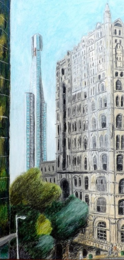 (CreativeWork) Towering Melbourne by Mark Lawther. oil-painting. Shop online at Bluethumb.
