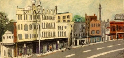 (CreativeWork) Broadway Reverse Perspective by Mark Lawther. oil-painting. Shop online at Bluethumb.