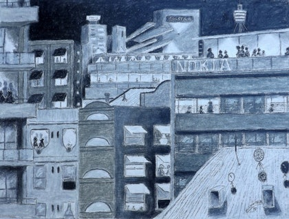 (CreativeWork) Pyremont Shapes by Night by Mark Lawther. drawing. Shop online at Bluethumb.