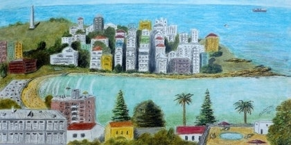 (CreativeWork) Towards North Bondi - original oil pastel painting. by Mark Lawther. oil-painting. Shop online at Bluethumb.