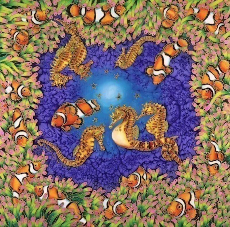 (CreativeWork) Clownfish and Seahorses by Kim Michelle Toft. print. Shop online at Bluethumb.