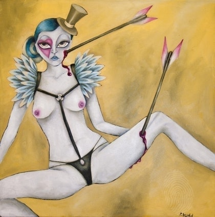 """(CreativeWork) \""""Kolfinna\"""" (White Lady) from the \'imPALEd\' series by Rebecca Boyd Defina. oil-painting. Shop online at Bluethumb."""