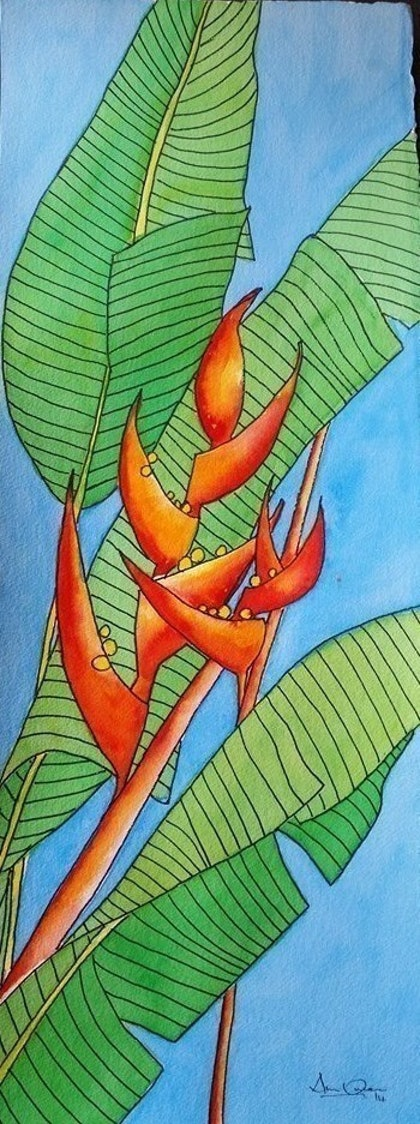 (CreativeWork) Heliconias by Ann Owen. watercolour. Shop online at Bluethumb.
