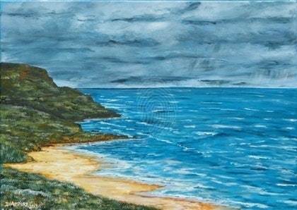 (CreativeWork) Ocean Rd Lookout by Ian Lamport. arcylic-painting. Shop online at Bluethumb.