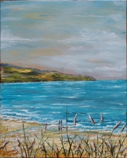 (CreativeWork) Front Beach Apollo Bay by Ian Lamport. arcylic-painting. Shop online at Bluethumb.