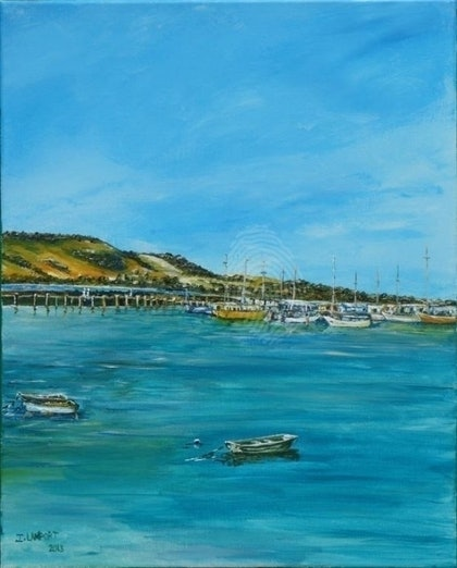 (CreativeWork) Apollo Bay Harbour by Ian Lamport. arcylic-painting. Shop online at Bluethumb.