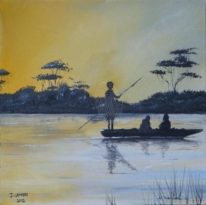 (CreativeWork) Scene of Africa by Ian Lamport. arcylic-painting. Shop online at Bluethumb.