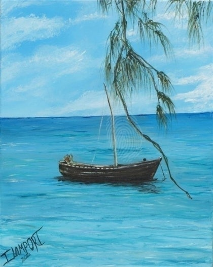 (CreativeWork) Relaxation at Grand Baie by Ian Lamport. arcylic-painting. Shop online at Bluethumb.