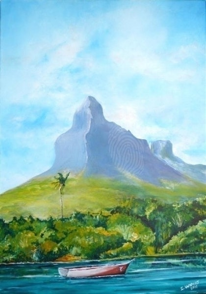 (CreativeWork) Rempart Mountain by Ian Lamport. arcylic-painting. Shop online at Bluethumb.