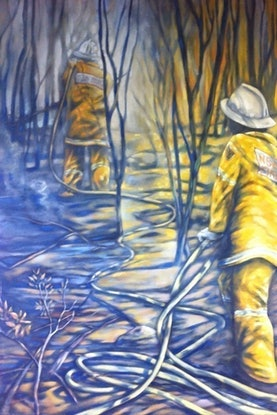 (CreativeWork) one hot summer by sue bannister. Oil. Shop online at Bluethumb.