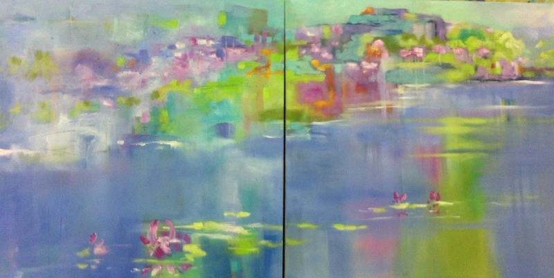 (CreativeWork) Summer lake 1 by sue bannister. oil-painting. Shop online at Bluethumb.
