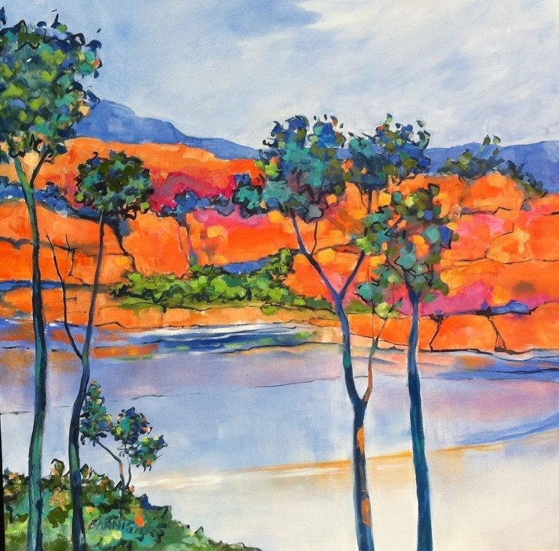 (CreativeWork) Billabong 1 by sue bannister. oil-painting. Shop online at Bluethumb.