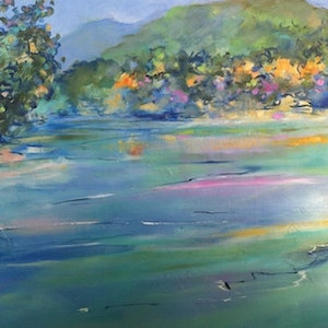 (CreativeWork) Summer lake 3 by sue bannister. oil-painting. Shop online at Bluethumb.
