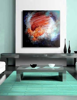 (CreativeWork) Release i - large square abstract painting by John Louis Lloyd. Mixed Media. Shop online at Bluethumb.