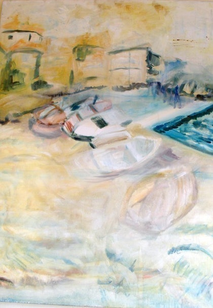 (CreativeWork) Dubrovnik Boats by Marissa Zaknich. oil-painting. Shop online at Bluethumb.