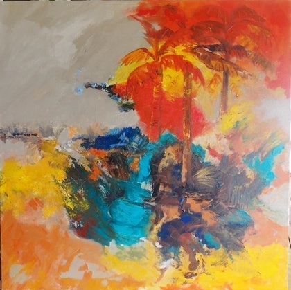 (CreativeWork) Red Palms by Sharon Duchene Drew. arcylic-painting. Shop online at Bluethumb.