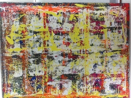 (CreativeWork) Gridlock by Simon Brown. arcylic-painting. Shop online at Bluethumb.