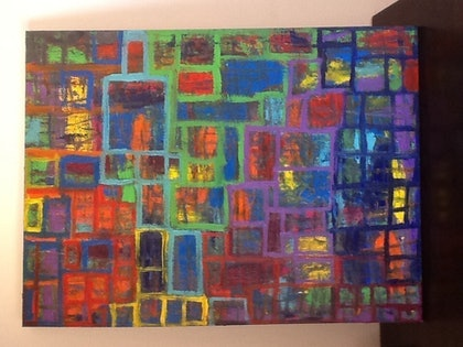 (CreativeWork) Morecityroof by Simon Brown. arcylic-painting. Shop online at Bluethumb.