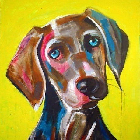 (CreativeWork) Yellow (Whiskers) by Jac Clark. Acrylic Paint. Shop online at Bluethumb.
