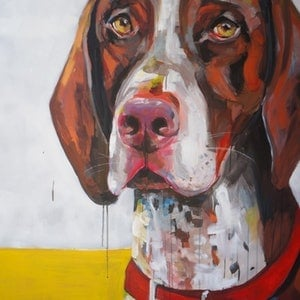 (CreativeWork) Bud the Pointer by Jac Clark. arcylic-painting. Shop online at Bluethumb.